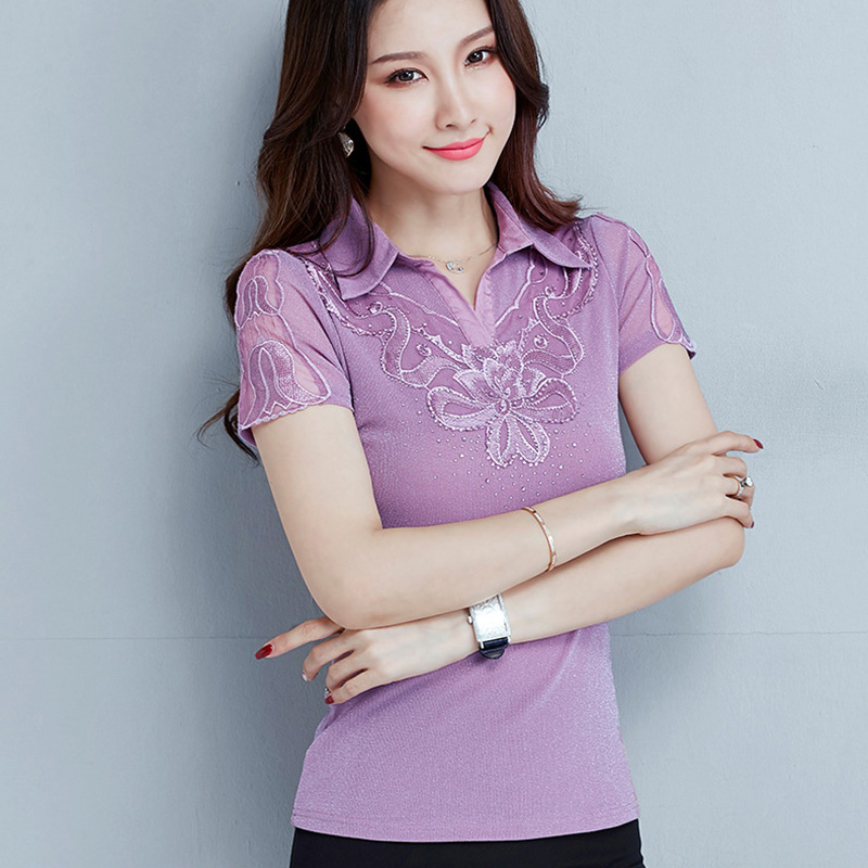 Women T-shirt Fashion Elegant Slim Short Sleeve Summer Tops Turn Down Collar Mesh T-shirt Plus Size Lady Shirt Blusas