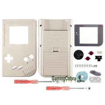Botones de carcasa completa color gris sólido con lente de pantalla para Gameboy DMG-01-GBF010