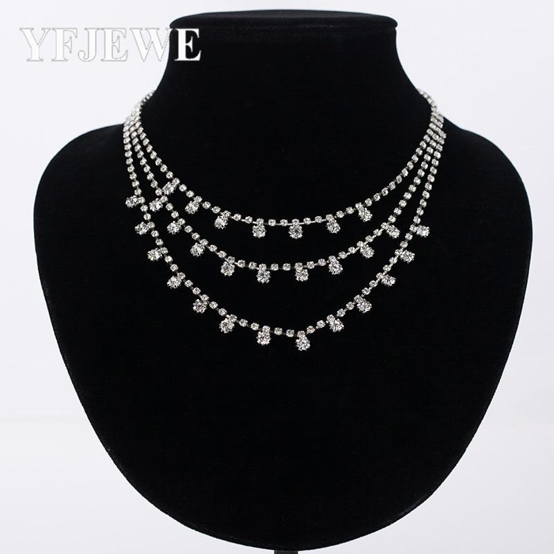 Fashion Superior Quality European-American Necklace Trendy Rhinestone Geometric Necklace Short Section Wild Jewelry YFJEWE