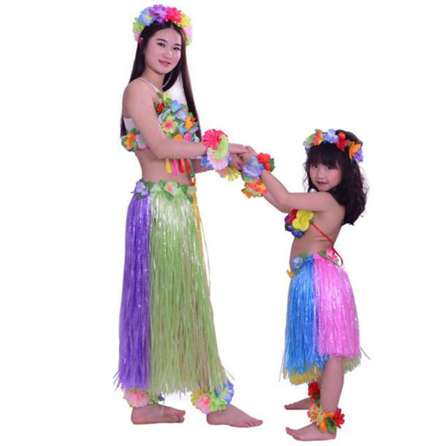 00dcf51a954 7pcs/set women and girls rianbow color hula skirt Mother and daughter  Hawaiian Grass skirt costumes Festive Party Supplies