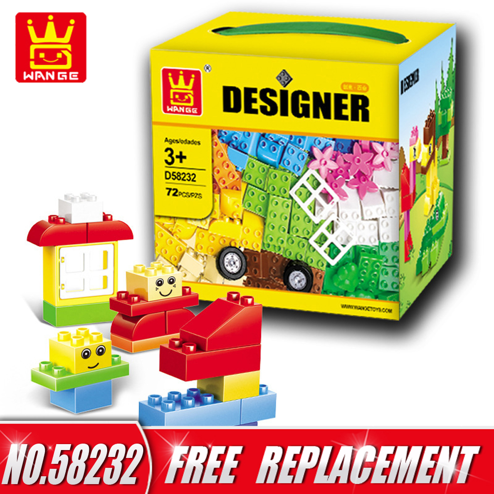 WANGE Designer 72pcs Big Size Bricks City Creative DIY Building Blocks Educational Kids Intelligence Toys Gifts NO.58232