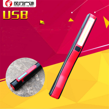 Cheapest prices LED Flashlight USB rechargeable COB pen-shaped work lights magnet pen clip repair lights maintenance camping plastic flashlight