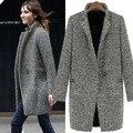 Элегантных женщин зимняя шерсть пальто плюс размер серый теплый хлопок траншеи laides бархатные толстые куртки длинном пальто