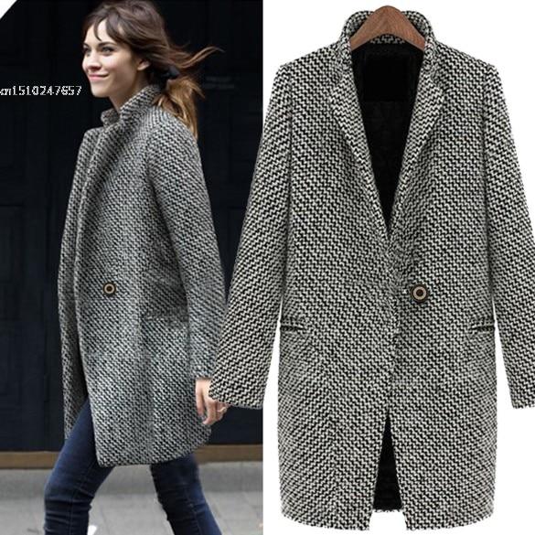 Donne eleganti cappotti di lana invernale grigio caldo cotone trincea  laides giacca di velluto di spessore 134414bcb4b