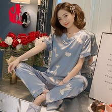 Silk Pajama Short Sleeves Pyjamas Women Satin Set Summer Pijamas Print Pajamas Plus Size Homewear Sleep 5XL