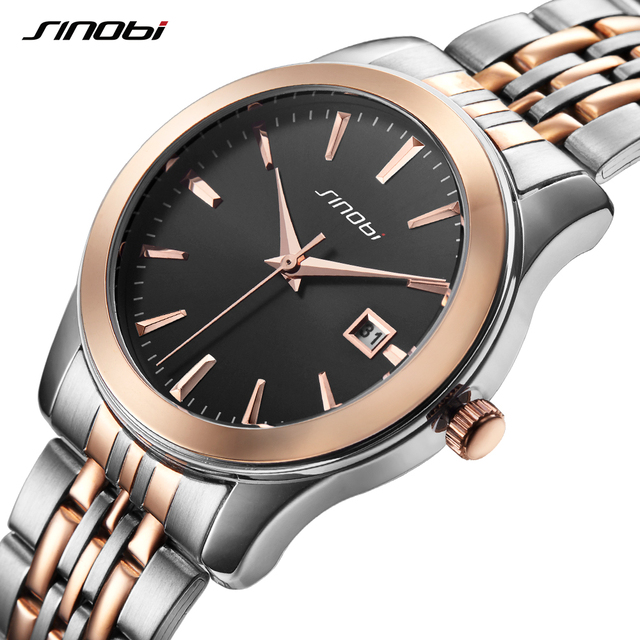 SINOBI Men Women Couple Watches Fashion Casual Wedding Gift Wristwatch Gold Steel Top Brand Classic Analog Quartz lovers Watch