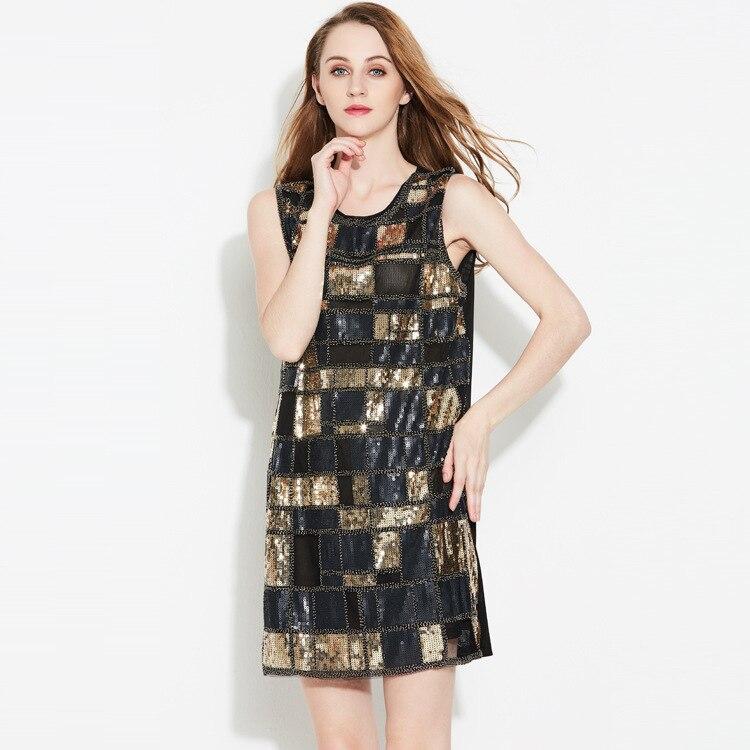 Buy Cheap Free Shipping Hot Sale Women Dress 2017 New Party Vest Fashion Ladies Gold O-neck Mini-dress Lattice Dresses