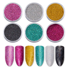6pcs/set DIY Holographic Laser Nail Glitter Powder Dust Sandy Matte Designs Decorations