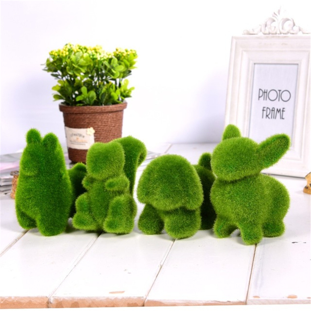 Christmas Handmade Artificial Turf Grass Animal Easter Rabbit Home Office Ornament Room Office Wedding Decor Easter Bunny Party