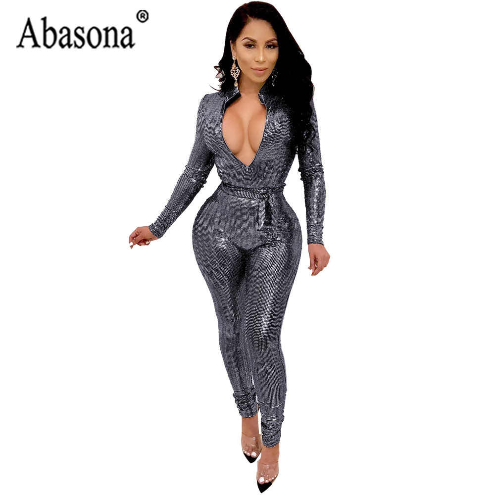 b90b88569f Abasona Women Sexy Bodycon Sequin Jumpsuit Front Zipper V Neck Long Sleeve  Romper Silver Blue Night