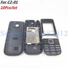 10 יח\חבילה טוב מקורי חדש עבור Nokia C2 01 שיכון כיסוי דלת מסגרת + סוללה חזרה כיסוי + לוח מקשים + לוגו החלפת חלקים