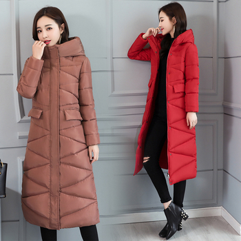 Korean Coats woman winter outwear 2019 long warm thicke down parka fashion slim jacket women hooded solid coat