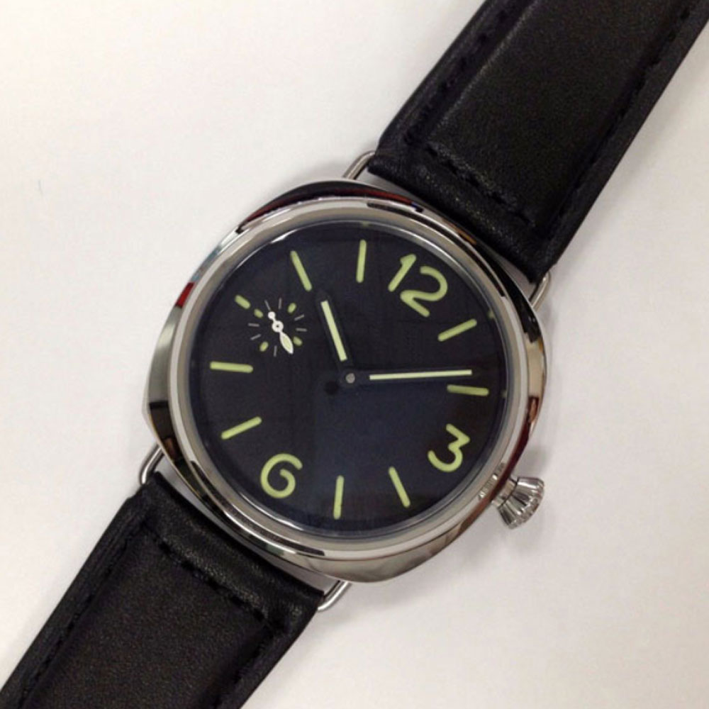 45mm Parnis Black Dial Steel Case 17 Jewels 6497 Leather Strap Hand Winding Movement Men's Watch
