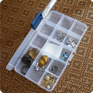 15 Grade portátil de jóias caixa de exibição Organizer Armazenamento Limpar Caixa Display Case Titular Limpar Jóias Bead Armazenamento