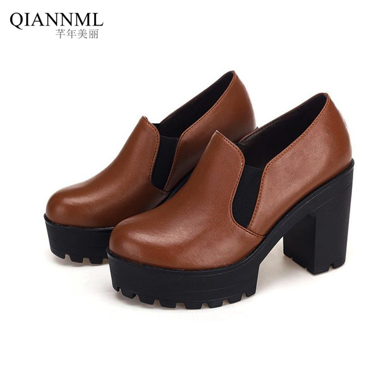 ФОТО New 2017 Spring Autumn Deep Mouth Women's Platform Pumps Quality Genuine Leather Shoes Women High Heels Footwear