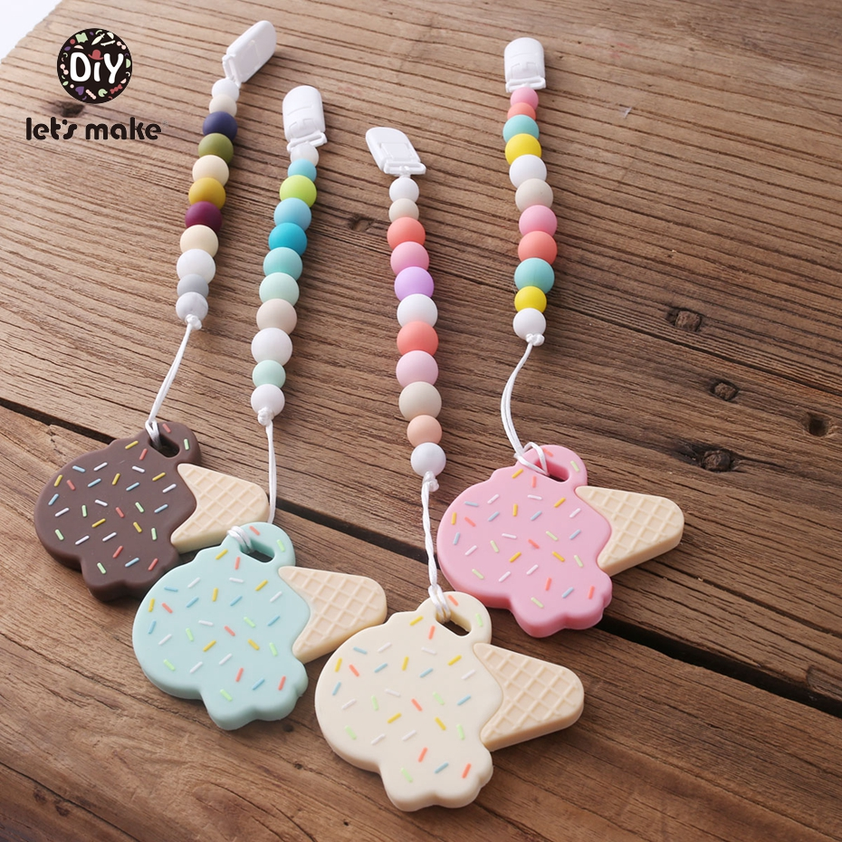 1PC Baby Teether Pacifier Clips Necklace Materials Food Grade Silicone Teether Beads BPA Free Baby Gift Toy Promotion Let's Make