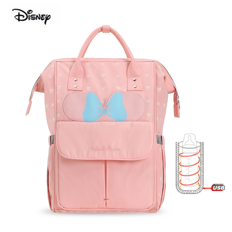Disney 2019 New Minne Mickey Multi-function Big Capacity Mother Bag For Babies Nappy Maternal Handbag Insulation Backpack Hooks