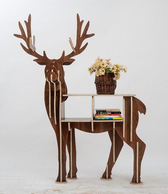 Большая книжная стойка книжный шкаф для хранения мебели для компакт дисков, фильмов и книг с изображением животных оленей, деревянные полки