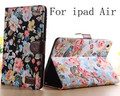 "Vintage Flower Pattern Leather Case Cover for iPad Air1/5 9.7"" with Smart Stand Card Holders"