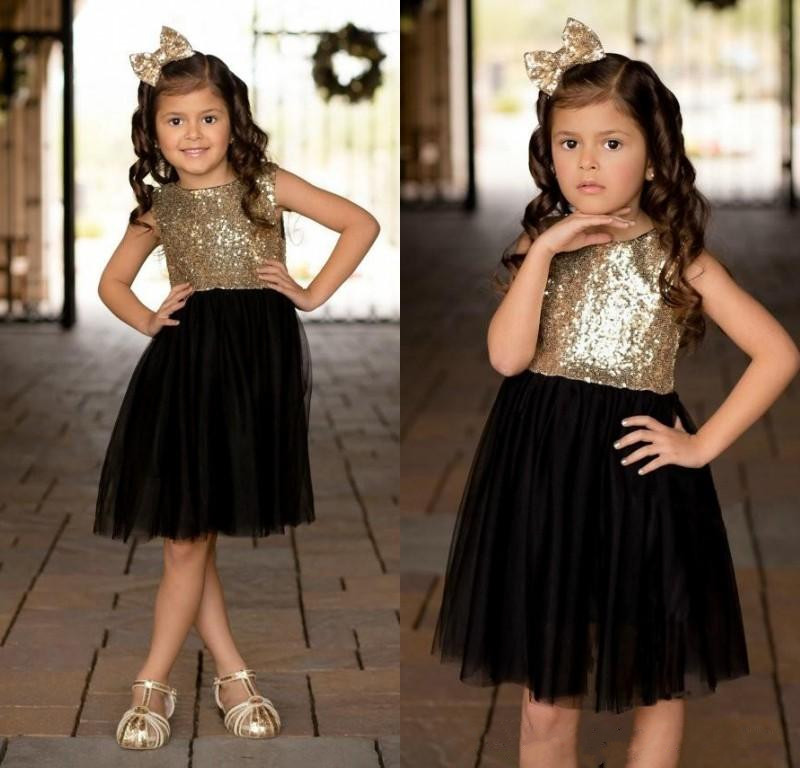 Black Gold Sequins Tulle Flower Girls Dresses For Weddings Knee Length Cute Children Party Birthday Kids Pageant Gown
