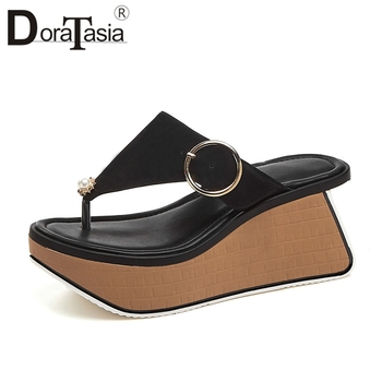 DORATASIA Brand New Summer Slippers 2020 women's Genuine Leather Ladies Wedges High Heels Shoes Woman Casual office Slippers
