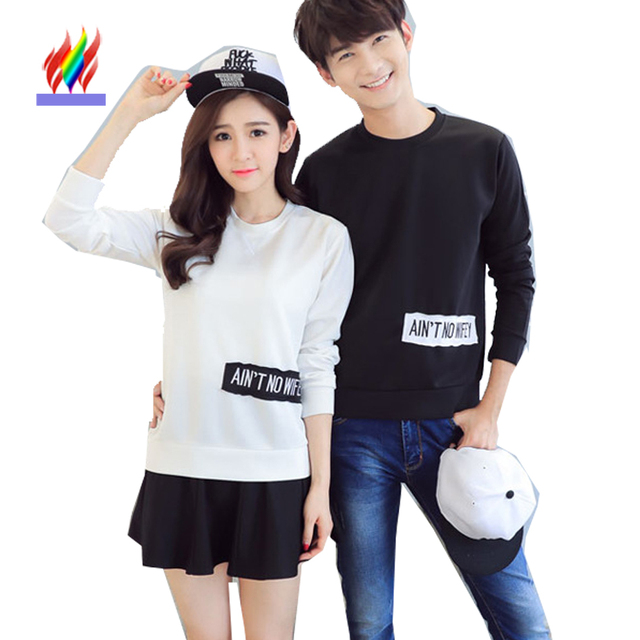 d4bd404552 Couple Clothes Hoodies For Lovers Casual Tops White Black Letter Printed  Pullovers Cute Sweet Korean Couple