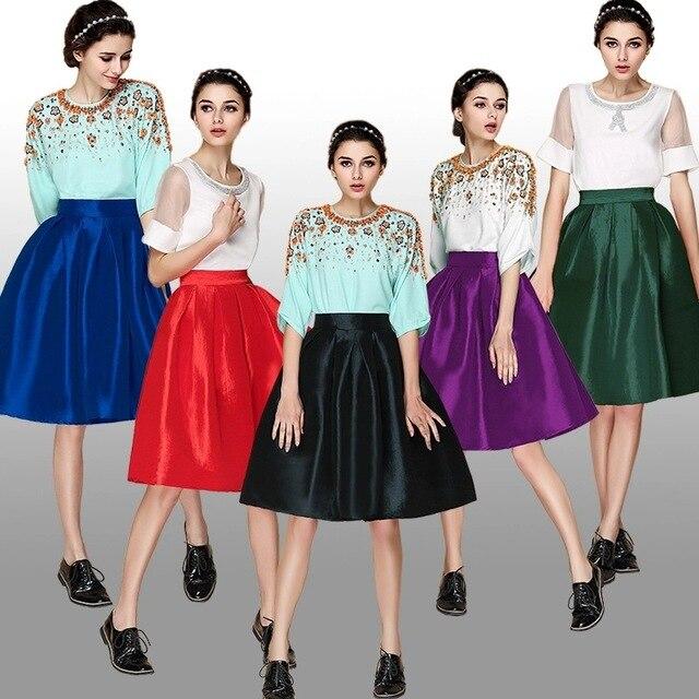 Paraguas falda de cintura faldas de Primavera 2015 nuevas mujeres Europeas y Americanas de La Falda tutu swing grande de imitación de satén