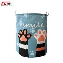 귀여운 고양이 개 발 대형 접는 세탁 바구니 만화 고양이 보관 배럴 코튼 린넨 더러운 옷 햄퍼 장난감 보관 바구니