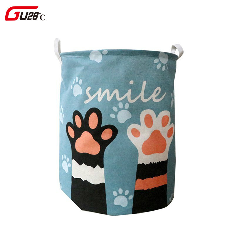 Cute Cat Dog Paw Large Folding Laundry Basket Cartoon Cat Storage Barrel Cotton Linen Dirty Clothes Hamper Toys Storage Basket-in Storage Baskets from Home & Garden