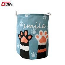 Cute Cat Dog Paw Large Folding Laundry Basket Cartoon Cat Storage Barrel Cotton Linen Dirty Clothes Hamper Toys Storage Basket