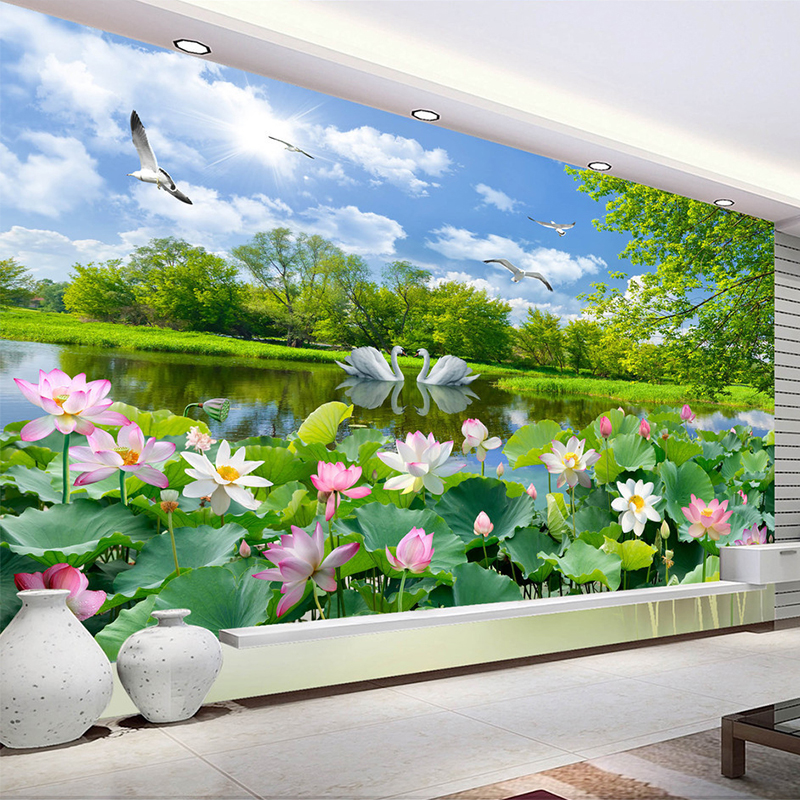 Chinese Style Photo Wallpaper 3D Swan Lake Lotus Pond Mural Living Room TV Sofa Background Wall Painting Papel De Parede 3D Sala