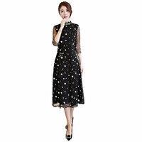 Shanghai Story Half Sleeve Chinese Traditional Dress Woman S Black Qipao Lace Cheongsam Dresses Knee Length