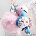 Pompón de piel de gato llaveros llavero Bola de Pelo de Conejo lindo de la historieta de Doraemon llavero Bolso colgante del coche llavero mejor regalo amigo