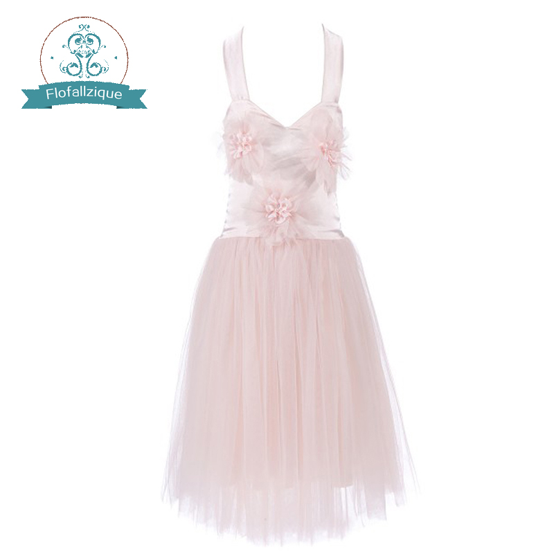 Flower     Girl     Dress   Pink Appliques Tulle Wedding Party 2018 Summer Backless Sleeveless Princess   Dresses   Clothes Size 1-10Y