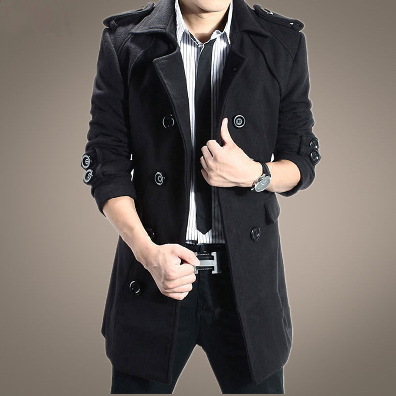 2017 new autumn and winter male trench slim medium long overcoat woolen fashion leisure men s