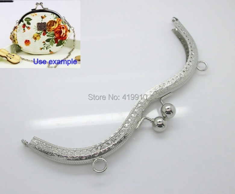 "Free Shipping-1PC Metal Frame Kiss Clasp For Purse Bag Lock Handle DIY Handmade Silver Tone 19.5cm x 7cm(7 5/8""x2 6/8""),J2634"
