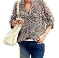 Blusas Femininas 2016 New Women V Neck Leopard print Chiffon Blouse Sexy Lady Long Sleeve Blusas Plus Size Shirt