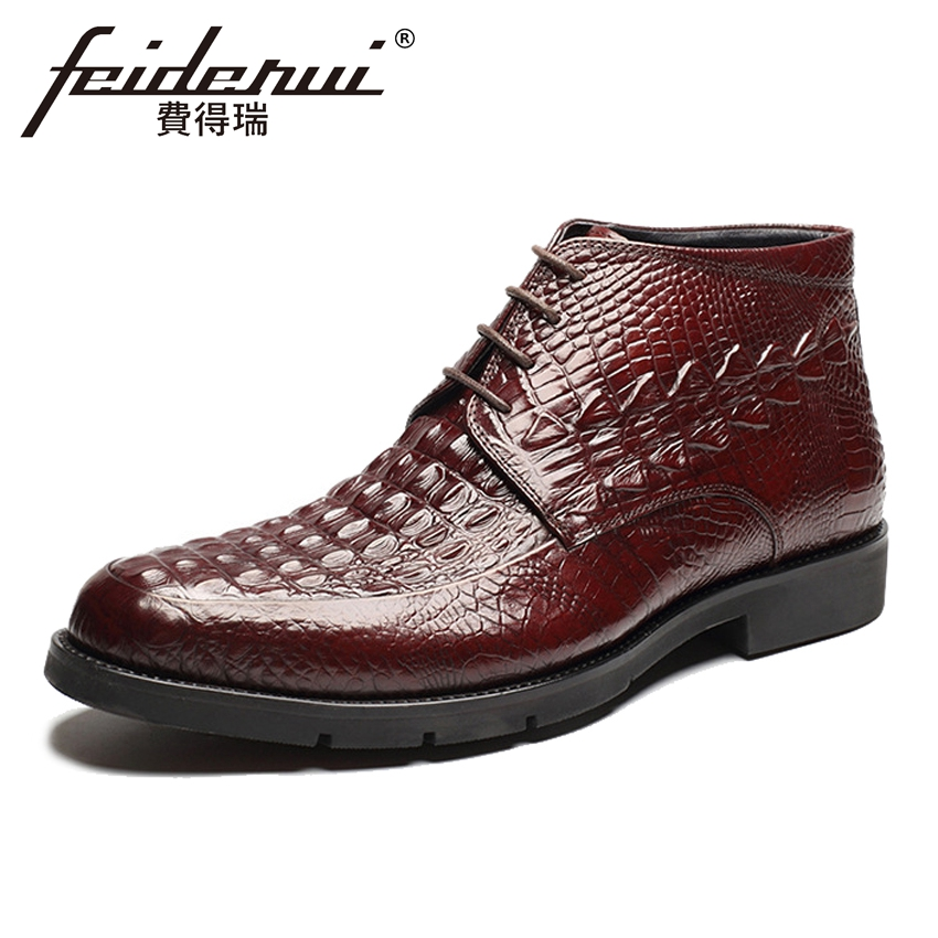 2018 High Quality Genuine Cow Leather Men's Handmade Ankle Boots Round Toe Lace-up Alligator Cowboy Riding Shoes For Man HMS32 new arrival luxury genuine leather men s handmade ankle boots round toe lace up alligator cowboy riding shoes for man hms84