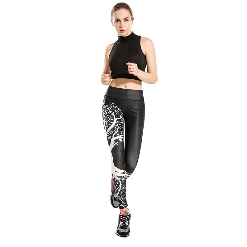 Wishing Tree Print Women Sporting Leggings Sexy High Waist Skinny Women Leggings Elastic Femme Compression Fitness Pants