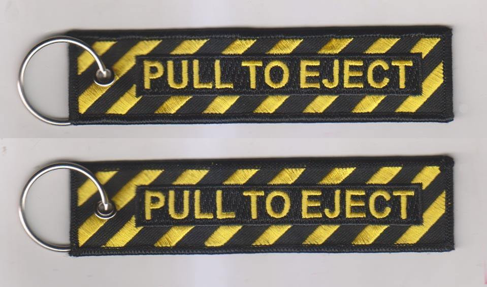 Pull To Eject Embroidered Label Car Key Chain Luggage Tag Keyring Aviation