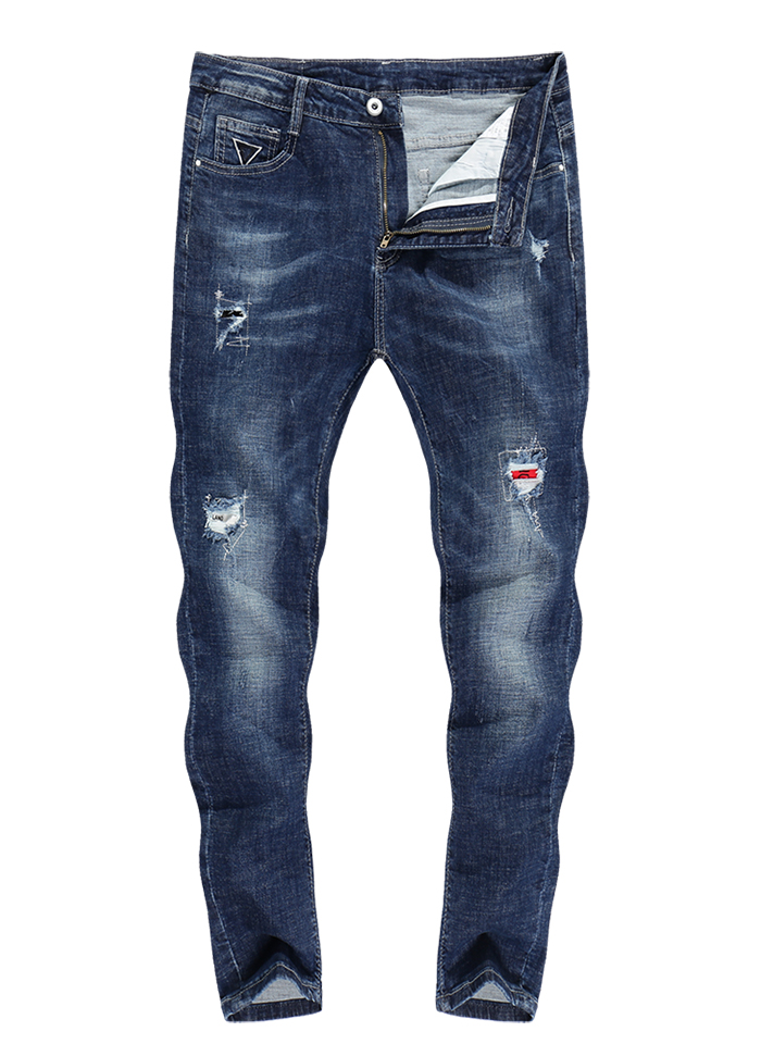 KSTUN Stretch Jeans Men Skinny Ripped Cropped Pants Slim Dark Blue Distressed Frayed Streetwear Patched Hip Hop Jeans for Man 12