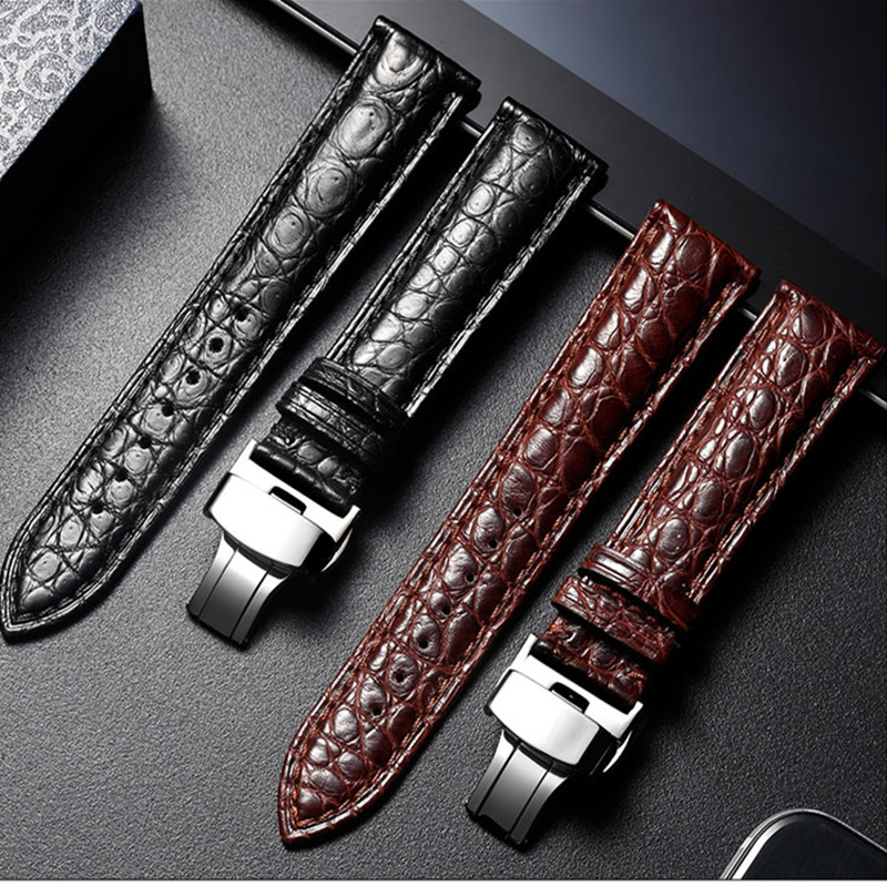 Watch Strap 18mm 20mm 22mm 24mm Brand Crocodile Alligator Leather Watchband Butterfly Buckle Bracelet Accessories Wristbands
