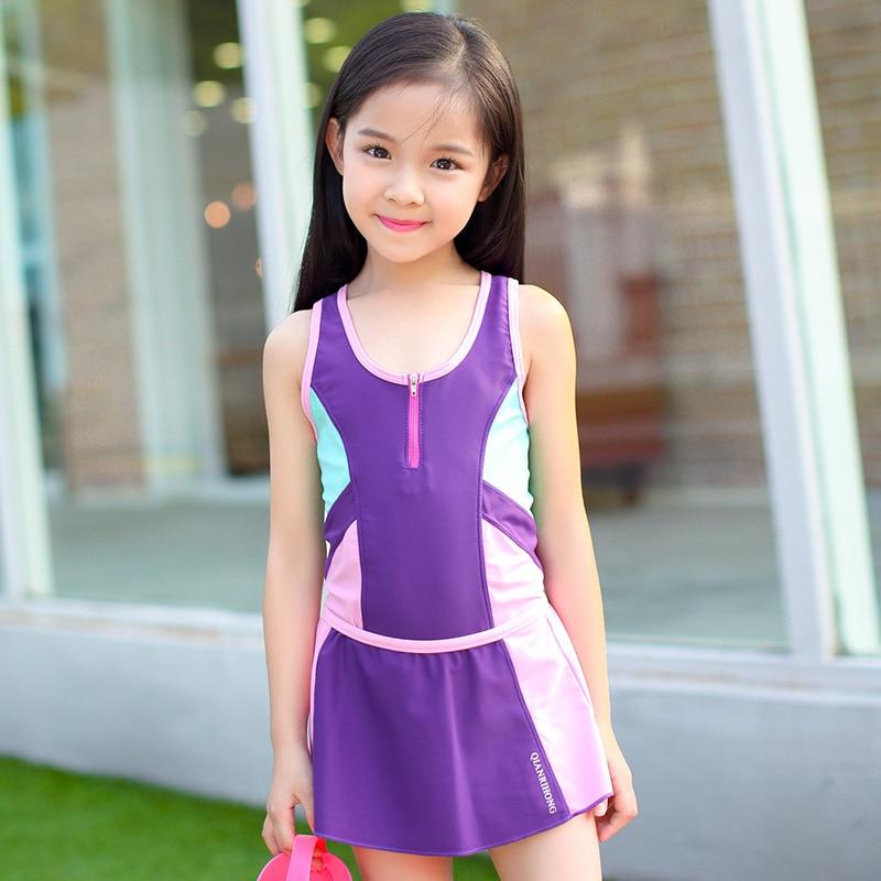 2017 Girls Sporting Bathing Suits Summer Beachwear Kids Swimwear With Skirt Plavky