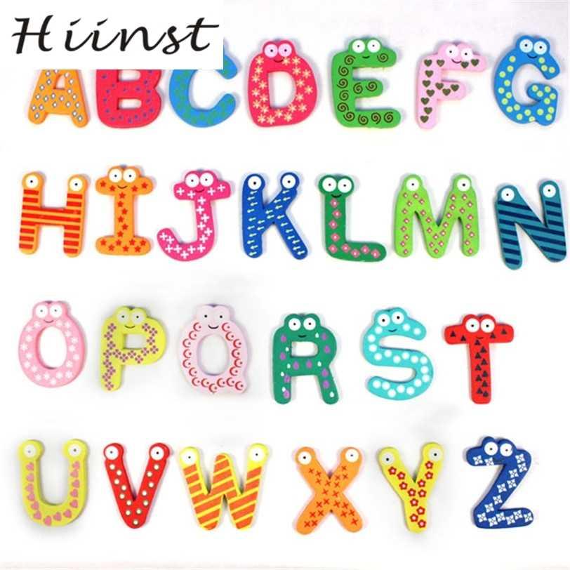 HIINST هبوط السفينة الملونة لطيف 26 رسائل خشبية الكرتون مغناطيس الثلاجة طفل لعبة تعليمية S7 AUG1420