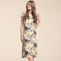 New Fashion High Quality 100% Silk Womens Dress V Neck Sexy Print Dress Casual Dress for Women