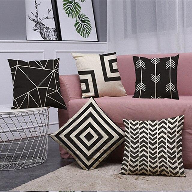 Di nuovo Modo Geometria Copertura del Cuscino Vintage in Bianco e Nero di Cotone