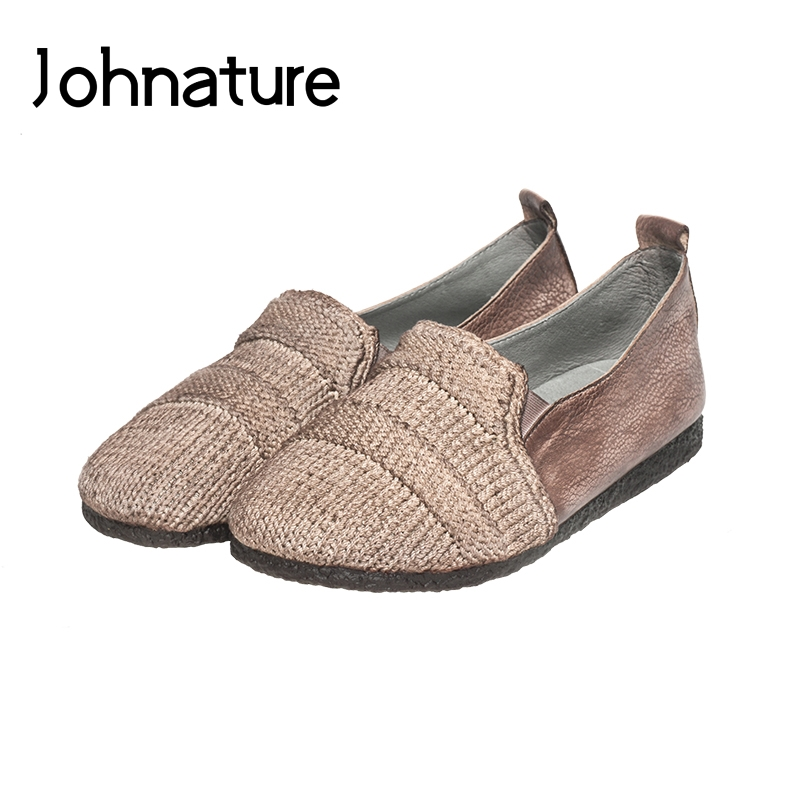 Johnature 2019 New Spring/Autumn Genuine Leather Loafers Mixed Colors Casual Retro Round Toe Shallow Slip-on Women ShoesJohnature 2019 New Spring/Autumn Genuine Leather Loafers Mixed Colors Casual Retro Round Toe Shallow Slip-on Women Shoes