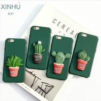 Cactus Phone Sell For Apple IPhone 7 7plus Scrub Hard Shell 3D Potted Plants Phone Case