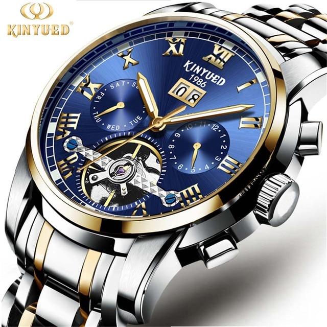 93b9f6982f40c KINYUED رجالي ساعات أعلى العلامة التجارية الفاخرة التلقائية الميكانيكية  ووتش الرجال الكامل الصلب الأعمال للماء الساعات
