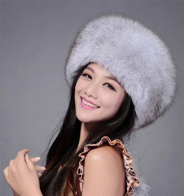 QUEENFUR Real Fox Cap With Genuine Leather Girls Hats 2016 New Winter Natural Fox Fur Headgear Bomer Hat For Women Top Quality